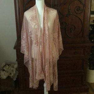 Torrid Kimono/cover up pink lace